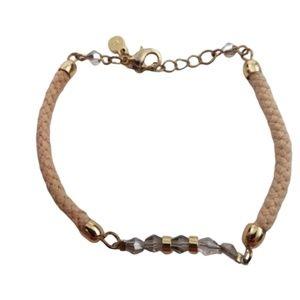 LC Lauren Conrad Bracelet Pink Cord Chain Rhinesto